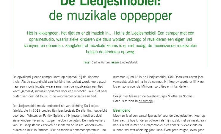 Revalidatie Magazine over de Liedjesmobiel
